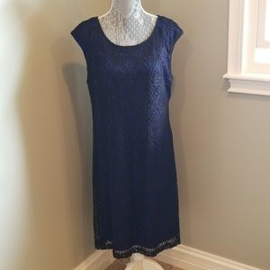 Connected ApparelBlack and blue lace overlay dress